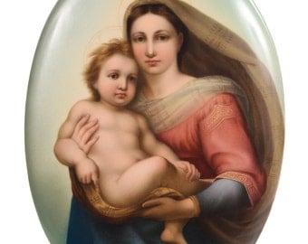 19th century KPM Porcelain Plaque of a Sistine Madonna w/Child