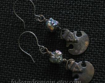 Metal blade earrings. Titanium pyrite. Occult jewelry. Gemstone nugget beads. Viking ax charm. Goth earrings. Small dangle earrings. Grunge