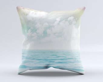 The Paradise Vintage Waves ink-Fuzed Decorative Throw Pillow
