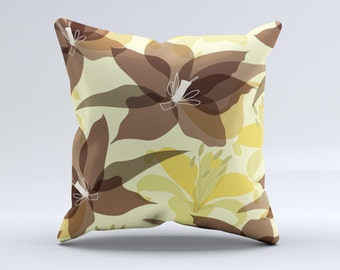 The Yellow and Brown Pastel Flowers ink-Fuzed Decorative Throw Pillow