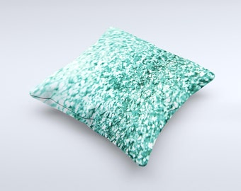 The Aqua Green Glimmer ink-Fuzed Decorative Throw Pillow