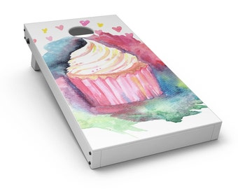 Love, Cupcakes, and Watercolor - Cornhole Board Skin Kit