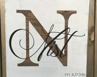 Custom Last Name Wood Sign I Last Name and Anniversary Wood Sign I Personalized Rustic Wood Sign with Family Name and Established Date I