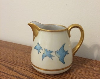 Vintage Bluebird or Swallow Cream Jug with Gold Trim
