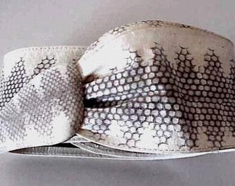 "Vintage White Python Snake Skin Belt Very Long 40"" End to End"