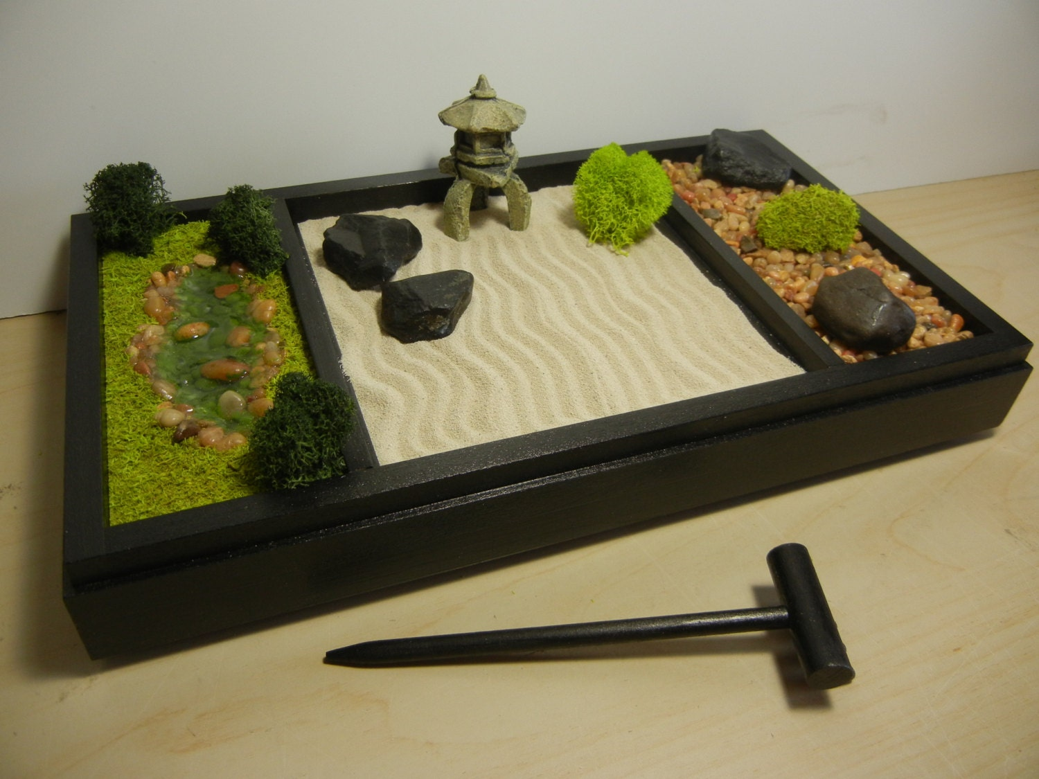 3 in 1 medium zen garden includes sand raking landscape for Jardin zen miniature