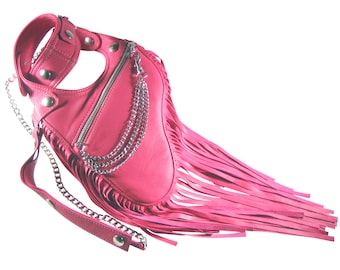 "Revolver bag leather pink fringes holster shoulder bag cross body bag leather halter bag summer bag leather ""Estelle"""
