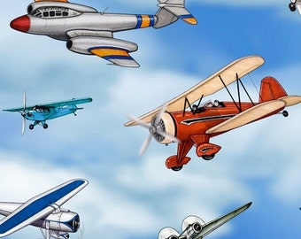 Aviation~Airplanes~Cotton Fabric~Quilting Treasures~Fast Shipping N357