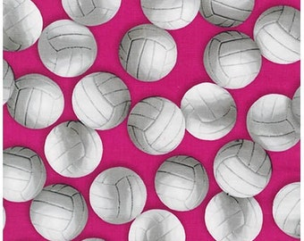 Volleyball-Pink Cotton Fabric,Quilt,Clothing, Sports Life 4~ ~Robert Kaufman Fast Shipping, S165