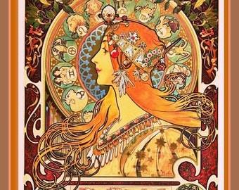ALFONSE MUCHA ZODIAC Vintage Giclee Print Art Nouveau Remastered Graphic Design 8.5 x 11 Poster