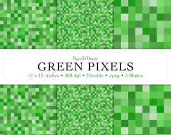 "Mini Pack ""GREEN PIXELS"" Digital Paper • Instant Download • Scrapbooking Supply • High Quality • Commercial Use"