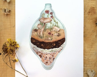 Terrarium, Watercolor Painting, Giclee Print of an Original Illustration 8x10""