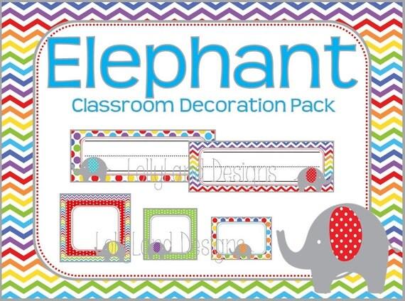 Elephant Classroom Decor ~ Elephant theme classroom decoration pack