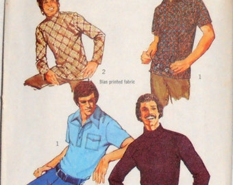 Mens Knit Shirt Pattern, Simplicity 6003 pattern, Mens Clothing Pattern,  size 42-44, 1970s pattern, Vest Pattern, Epsteam,