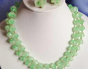 Vintage 'Hong Kong' Green Double Strand NECKLACE SET