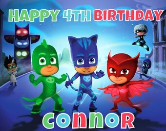 PJ MASKS edible  cake topper decoration Custom sheet party birthday Sugar Owlette Catboy Cupcake frosting transfer fondant Image