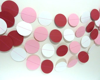 Paper Garland, Red, Pink & White, Valentine, Birthday Party Decorations, Banner, Kids Party