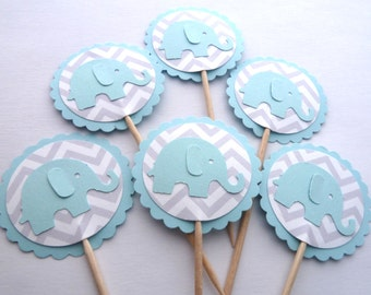 24 Blue Elephant Boy Baby Shower Chevron Toothpick Cupcake Toppers, Food Picks, Theme Party Picks, Ships in 3-5 Business Days