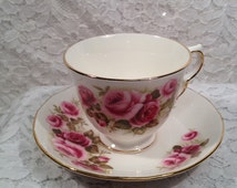 Beautiful Vintage Queen Anne Bone China Tea Cup and Saucer in Pink Roses Design # 8679, Footed Tea Cup with Gold Trim.