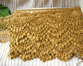 "10yds~ BIG 3"" Metalic Gold Scallop Venise Lace~ Tablecolth Trim #436 Lampshade"