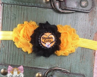 Steelers Cutie Headband~ pittsburgh steelers headband, pittsburgh baby headband, steelers baby headband