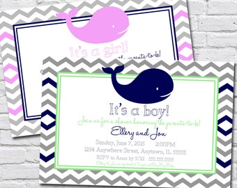 Whale Theme Baby Shower Invitation