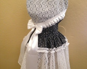 Apron, Lace Apron, Black and white lace apron