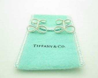 Tiffany & Co. Sterling Silver Infinity Cuff Links With Tiffany Pouch