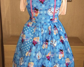 Frozen Elsa and Anna Full Pinny, Apron, for all  Retro, Rockabilly Vintage Lovers