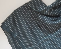 Dark green Scarf Shawl small silk polka dot Retro White vintage square 1990s hand rolled edges ponge vintage old large