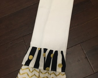 Personalized Kitchen Hand Towel- Black and Gold