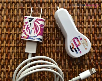 Preppy Print Monogrammed Car Charger and Charger Wrap Combo - Available in Several Preppy Patterns