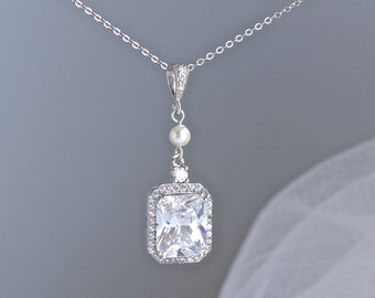 Crystal Necklace, Square Bridal Necklace, Wedding Necklace, Bridal Jewelry, Bridesmaids Jewelry,