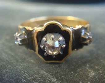 Antique Diamond Mourning Ring - Diamond Memorial Ring - memento mori