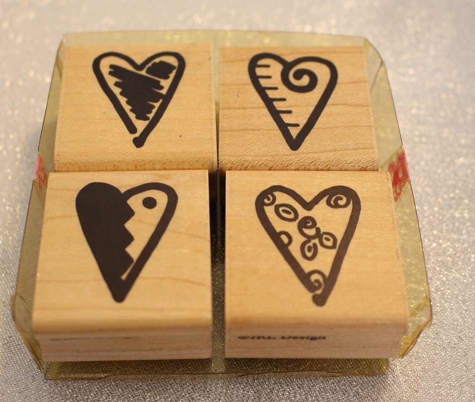 Four Scribble Heart stamps by JRL Designs Vintage Rubber