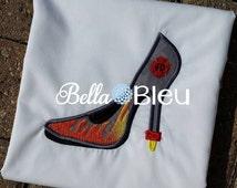 Sexy Fireman Firewomen Heel Heels Applique Embroidery Designs Design Monogram
