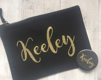 Personalised Glitter Make Up Bag Pocket Mirror Birthday Gift, Bridesmaid Gift, Wedding Day