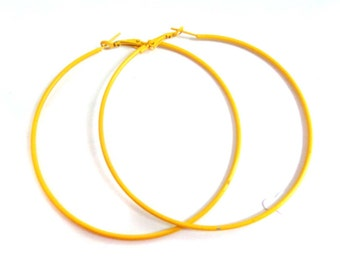 Yellow Hoop Earrings Thin Hoops Assorted Sizes Bright Yellow Earrings