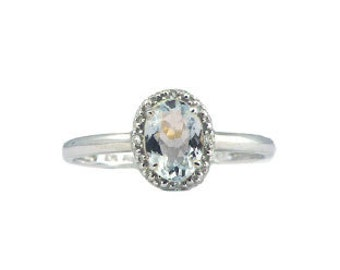 Diamond Oval-Cut Aquamarine Gemstone Ring In White Rose Yellow Gold or Silver, March Birthstone Aquamarine Jewelry Aquamarine Gemstone Rings
