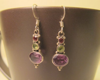 15% OFF !! Multi Gemstone Dangle Earrings with Garnet Amethyst Peridot 925 Sterling Silver