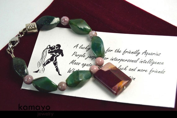 AQUARIUS BRACELET - Mooakite Jasper Pendant on Moss Agate & Ocean Jasper Beads - Fits Wrist of Up to 5.75""