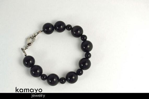 "BLACK OBSIDIAN BRACELET - Big Round Beads - Fits Wrist of Up to 5.8"""
