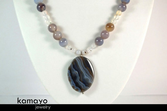GREY AGATE NECKLACE - Matinee Necklace with Large Gray Agate Pendant