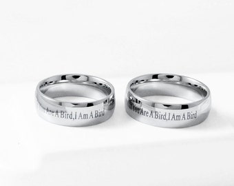 If you are a Bird, I am a Bird Engagement Ring Stainless Steel Promise Ring Friendship Love Ring Wedding Ring