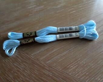 2 Skeins DMC Light Blue # 3761 Embroidery Cotton FRANCE Mint