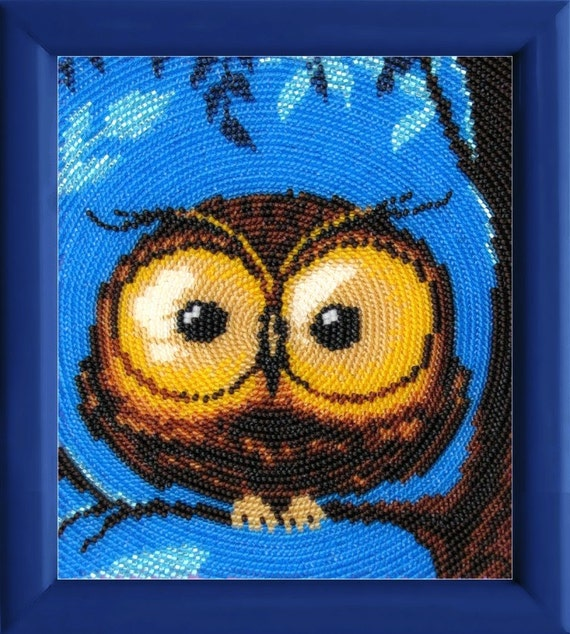 Little owl DIY bead embroidery kit, beading on needlepoint kit, room wall decor housewarming gift idea