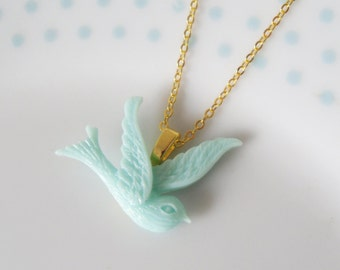 Cute Turquoise Swallow Necklace, Retro, Kitsch, Gold, Sparrow, Bird, Pendant, Charm