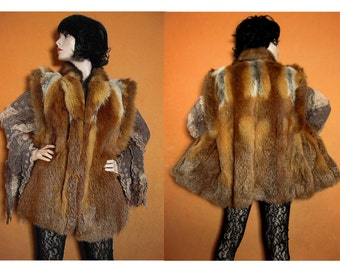 Real fur coat vest red fox