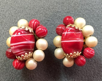 Vintage Red Beaded Clip Earrings .  Free shipping