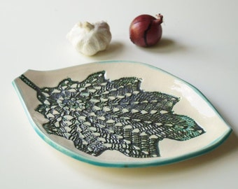 Leaf Plate, Leaf Pattern, Appetizer Plate, Ceramic Tray,  Handmade Ceramics and Pottery, Serving Plate, Housewares, Home and Living